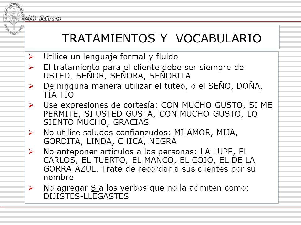 TRATAMIENTOS Y VOCABULARIO
