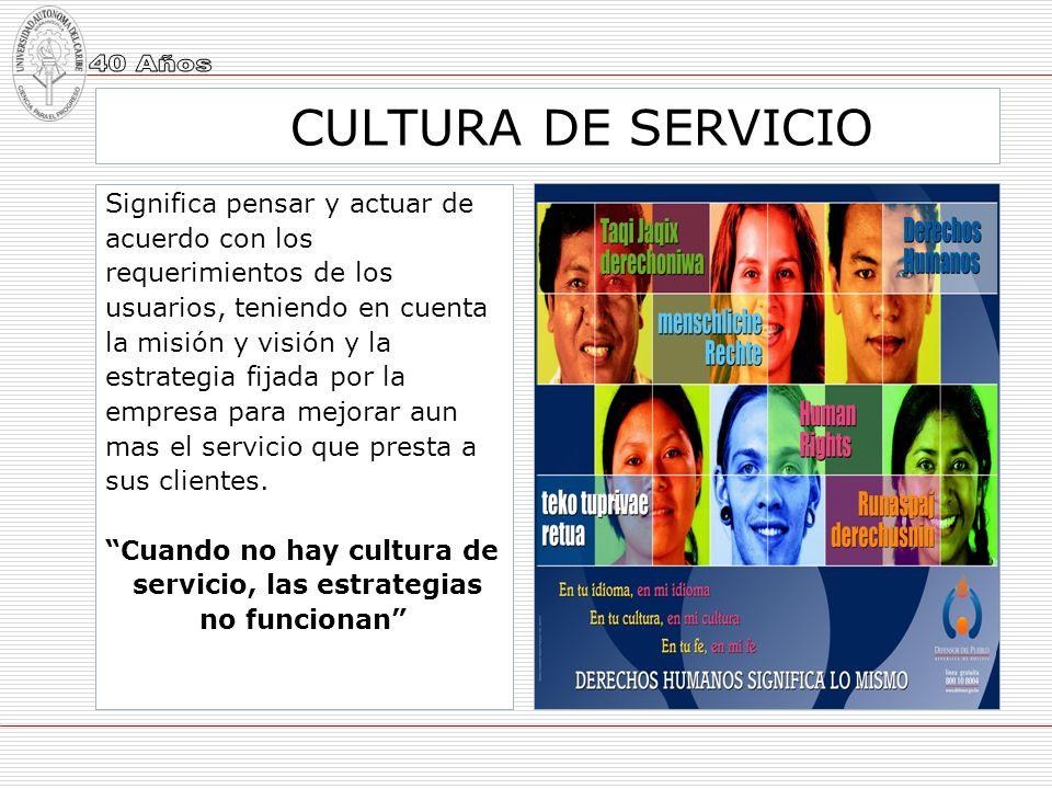 servicio, las estrategias