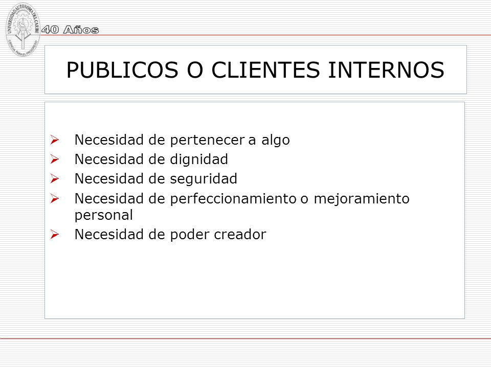 PUBLICOS O CLIENTES INTERNOS