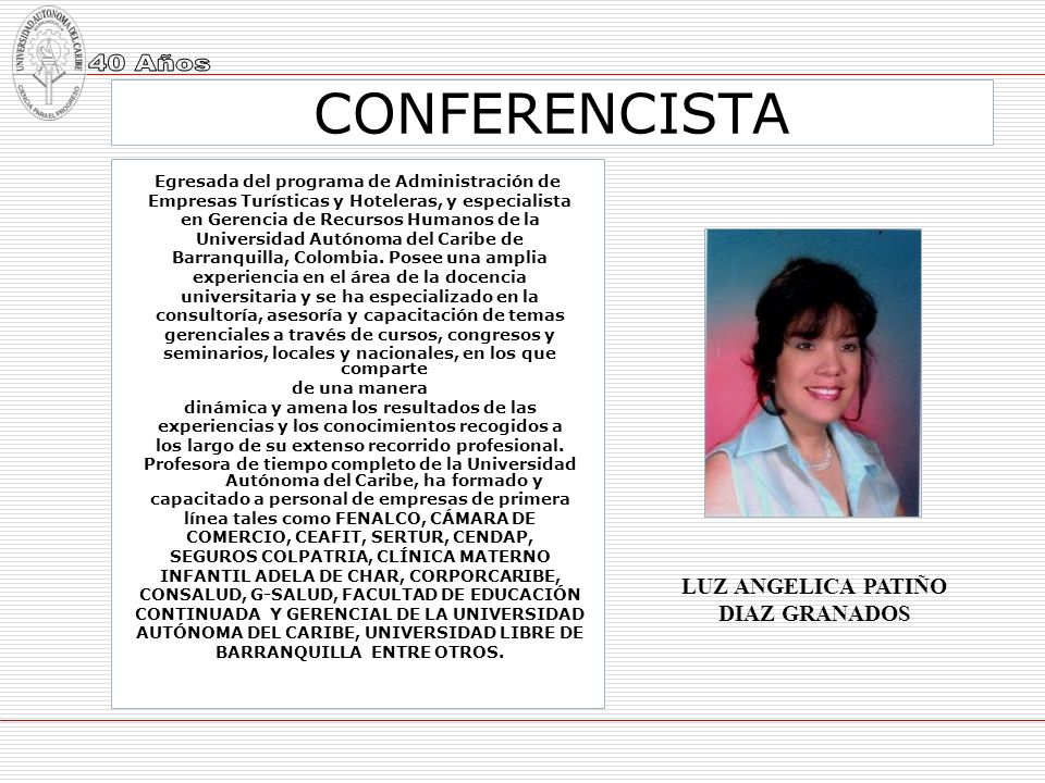 CONFERENCISTA LUZ ANGELICA PATIÑO DIAZ GRANADOS