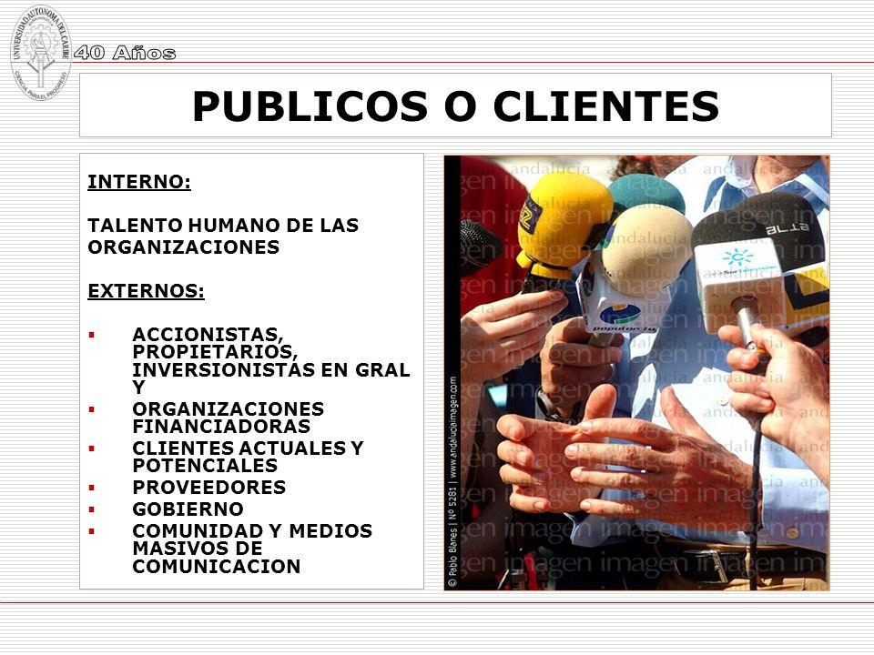 PUBLICOS O CLIENTES INTERNO: TALENTO HUMANO DE LAS ORGANIZACIONES