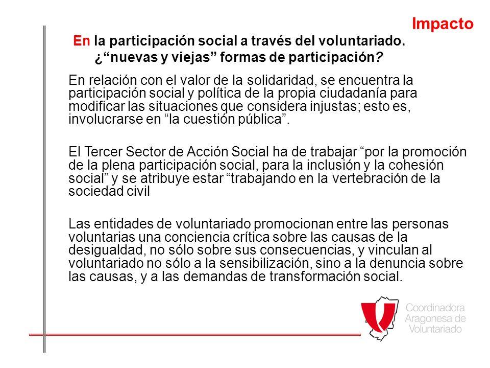 Impacto En la participación social a través del voluntariado. ¿ nuevas y viejas formas de participación