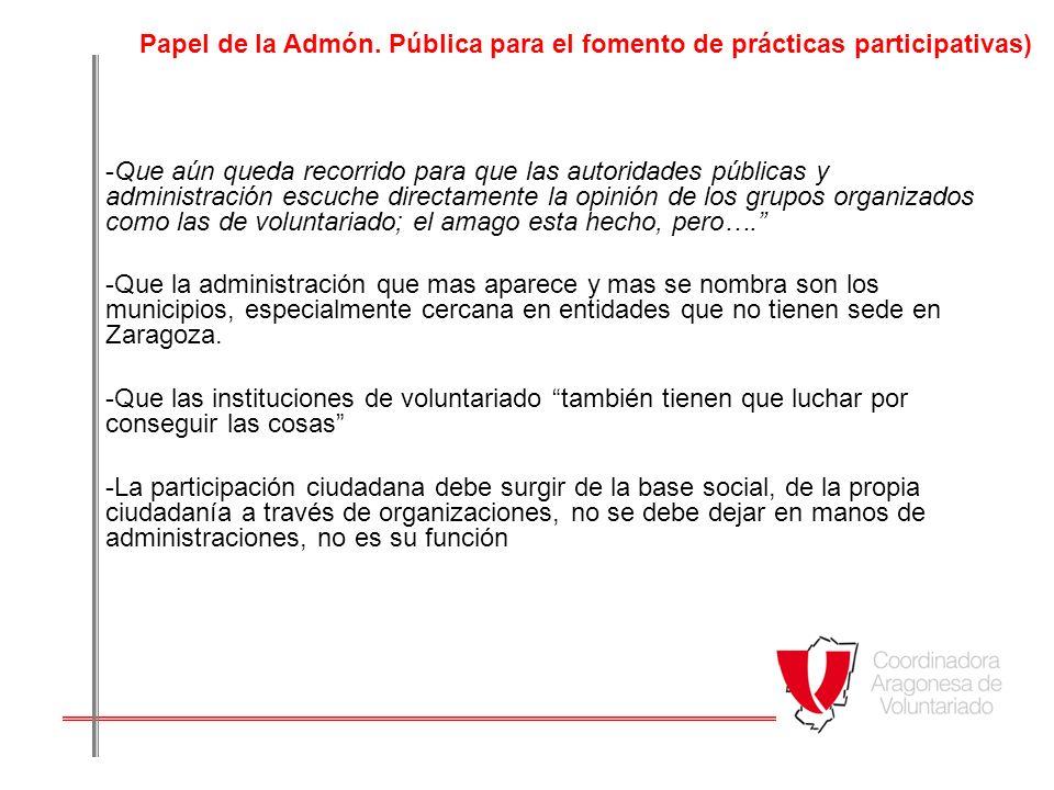 Papel de la Admón. Pública para el fomento de prácticas participativas)