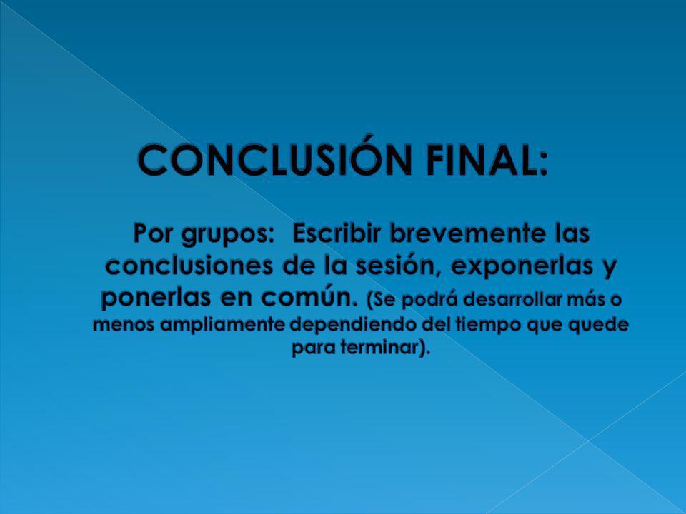 CONCLUSIÓN FINAL: Por grupos: Escribir brevemente las conclusiones de la sesión, exponerlas y ponerlas en común.