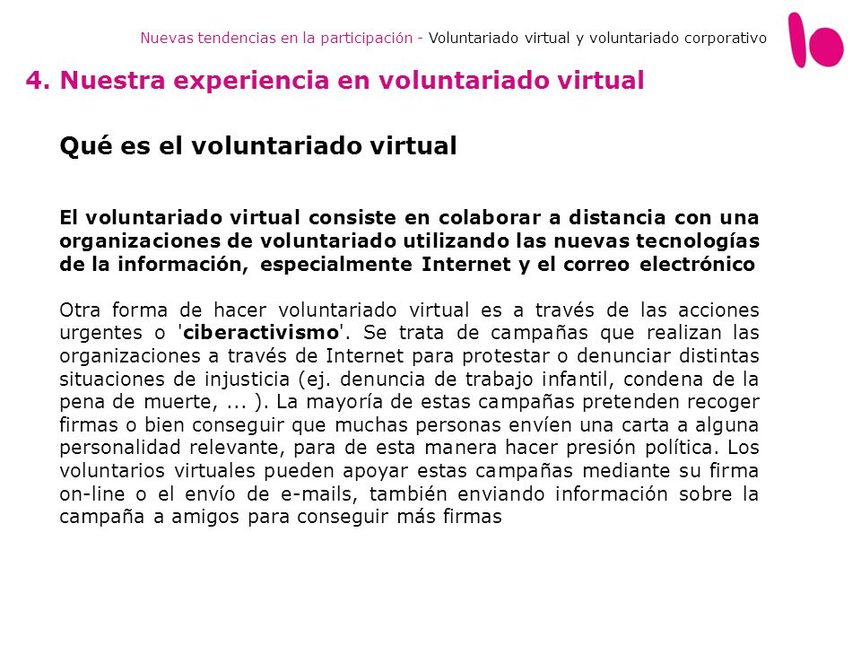 4. Nuestra experiencia en voluntariado virtual