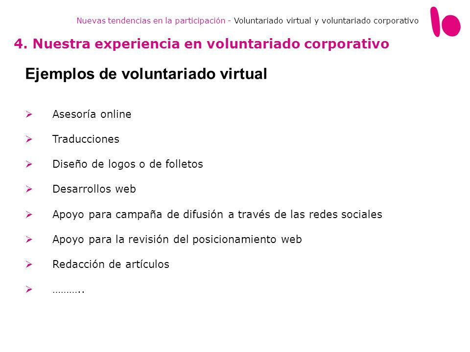 Ejemplos de voluntariado virtual