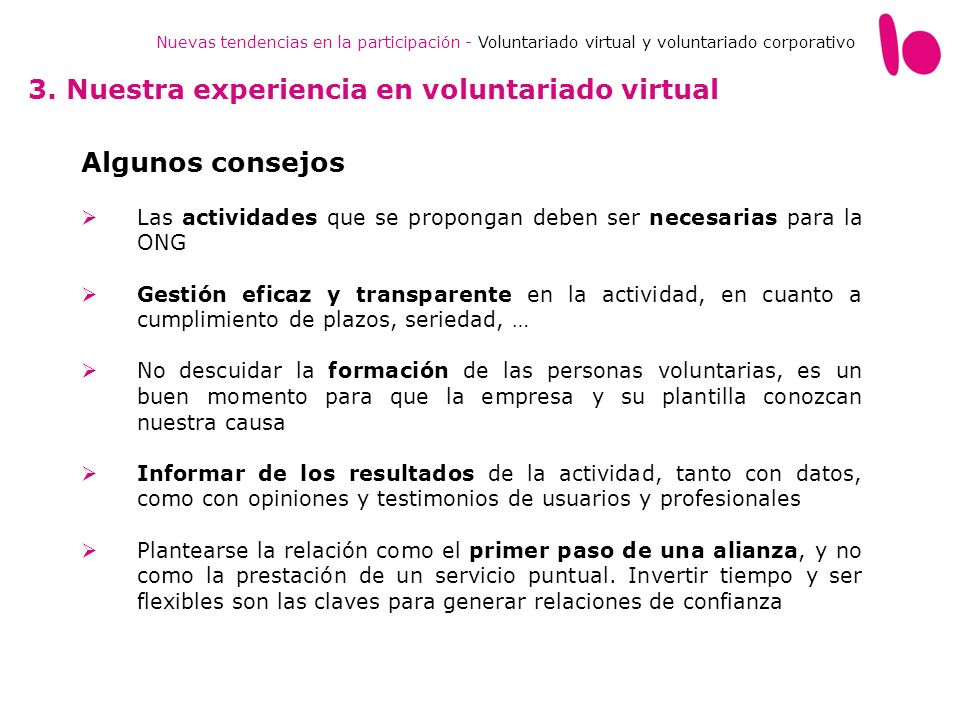3. Nuestra experiencia en voluntariado virtual