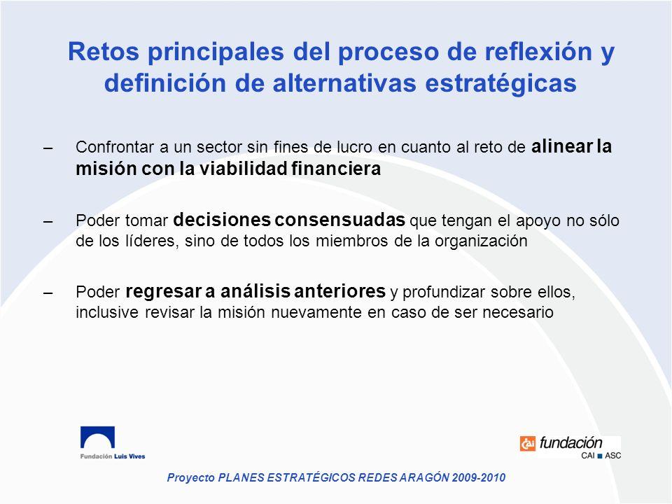 Retos principales del proceso de reflexión y definición de alternativas estratégicas