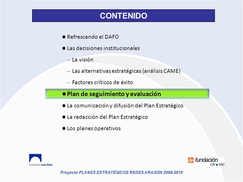 CONTENIDO Plan de seguimiento y evaluación Refrescando el DAFO
