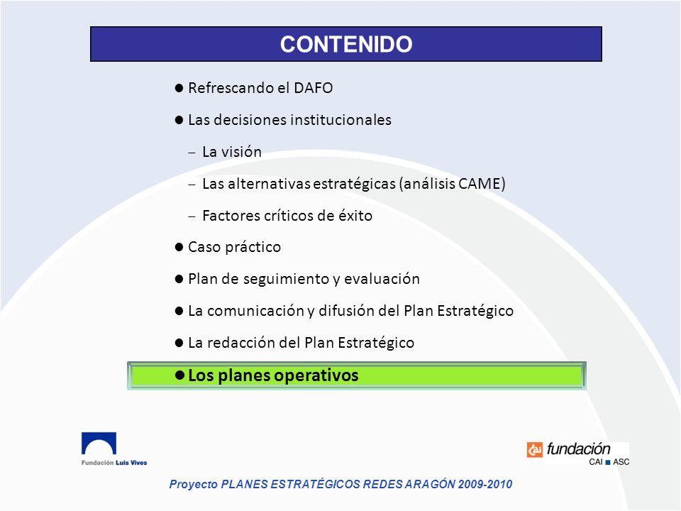 CONTENIDO Los planes operativos Refrescando el DAFO