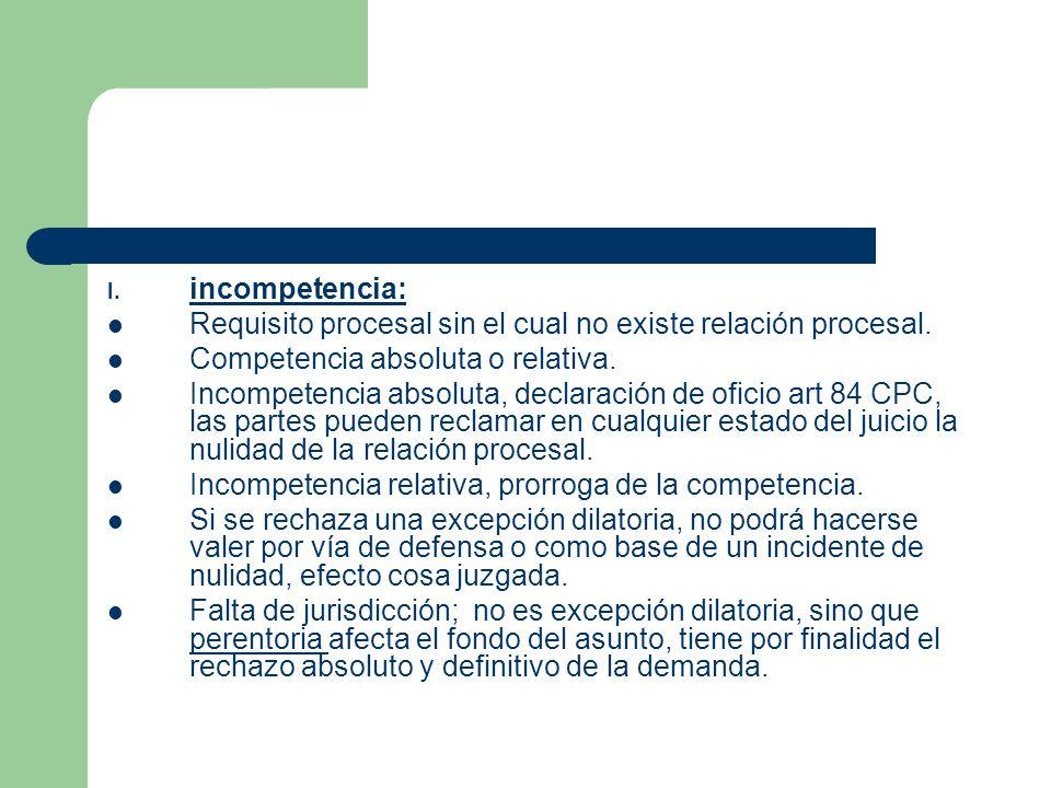 incompetencia: Requisito procesal sin el cual no existe relación procesal. Competencia absoluta o relativa.