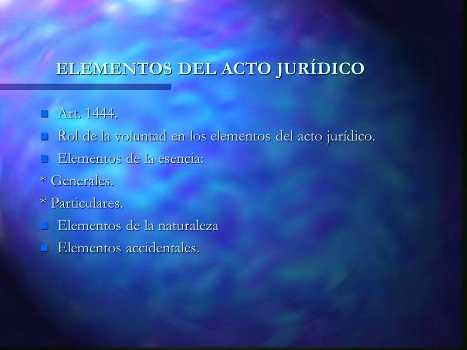 ELEMENTOS DEL ACTO JURÍDICO