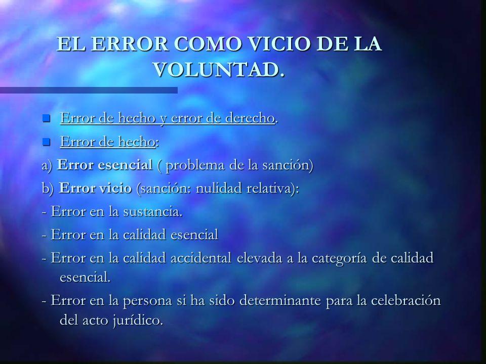 EL ERROR COMO VICIO DE LA VOLUNTAD.