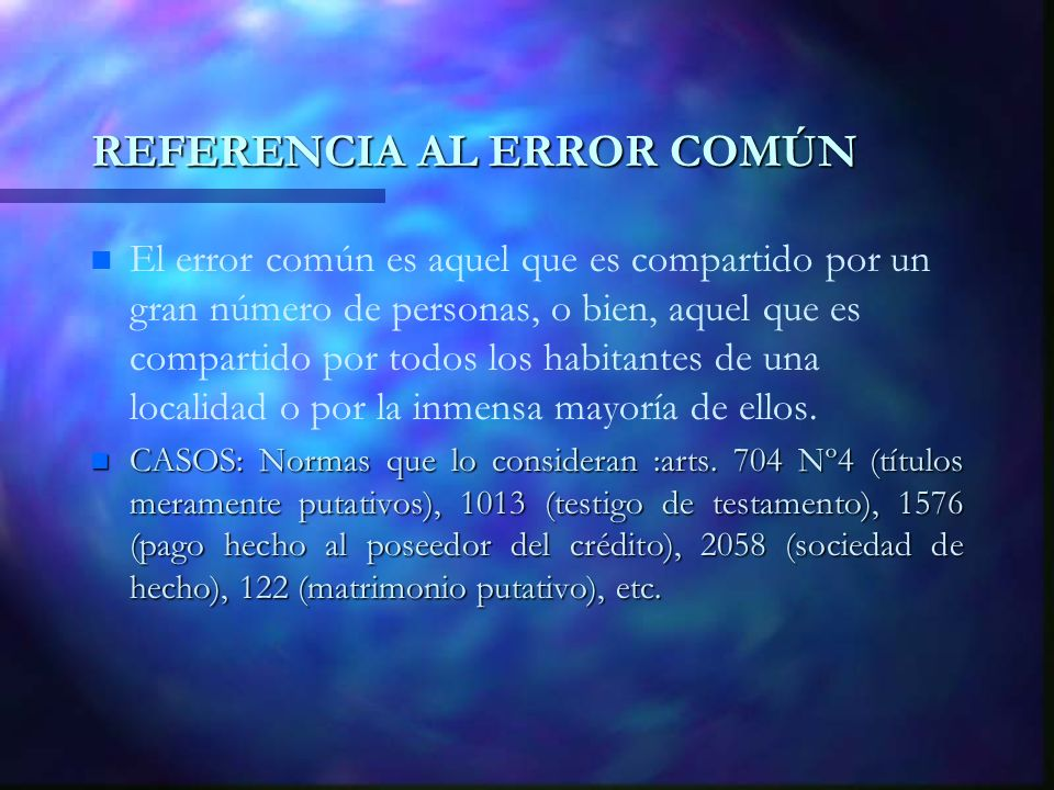REFERENCIA AL ERROR COMÚN