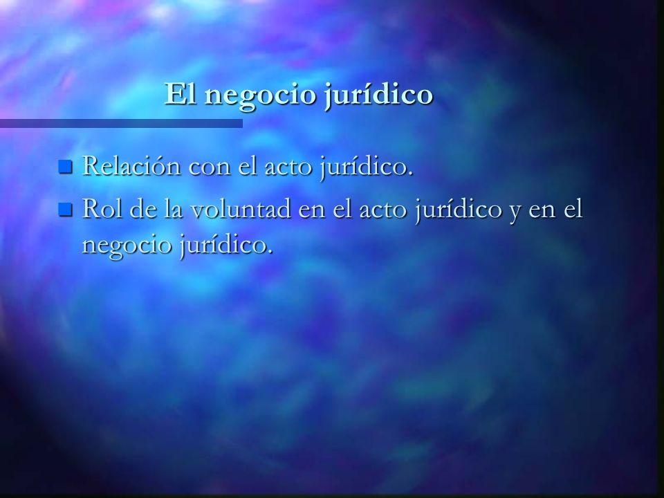 El negocio jurídico Relación con el acto jurídico.