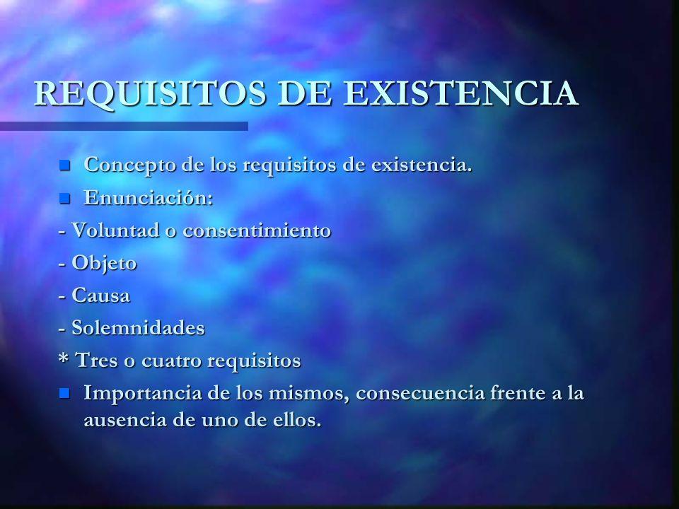 REQUISITOS DE EXISTENCIA