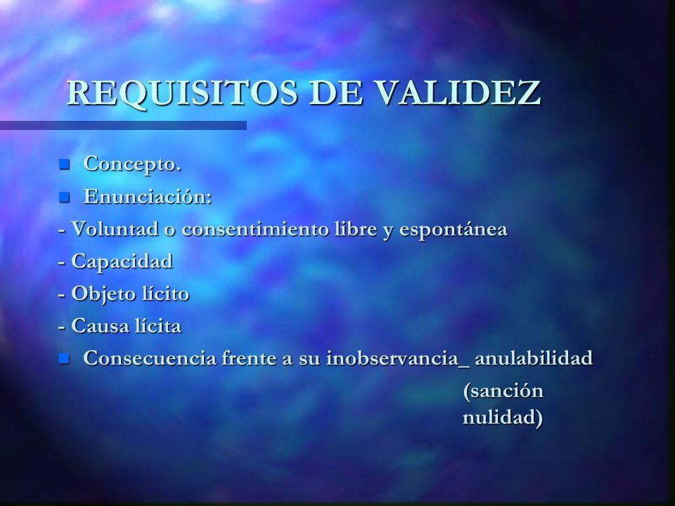 REQUISITOS DE VALIDEZ Concepto. Enunciación: