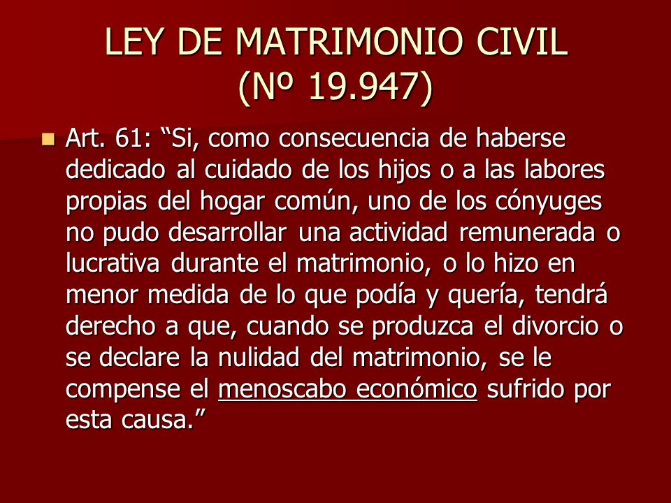 LEY DE MATRIMONIO CIVIL (Nº )