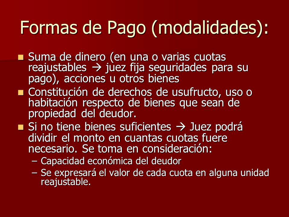 Formas de Pago (modalidades):