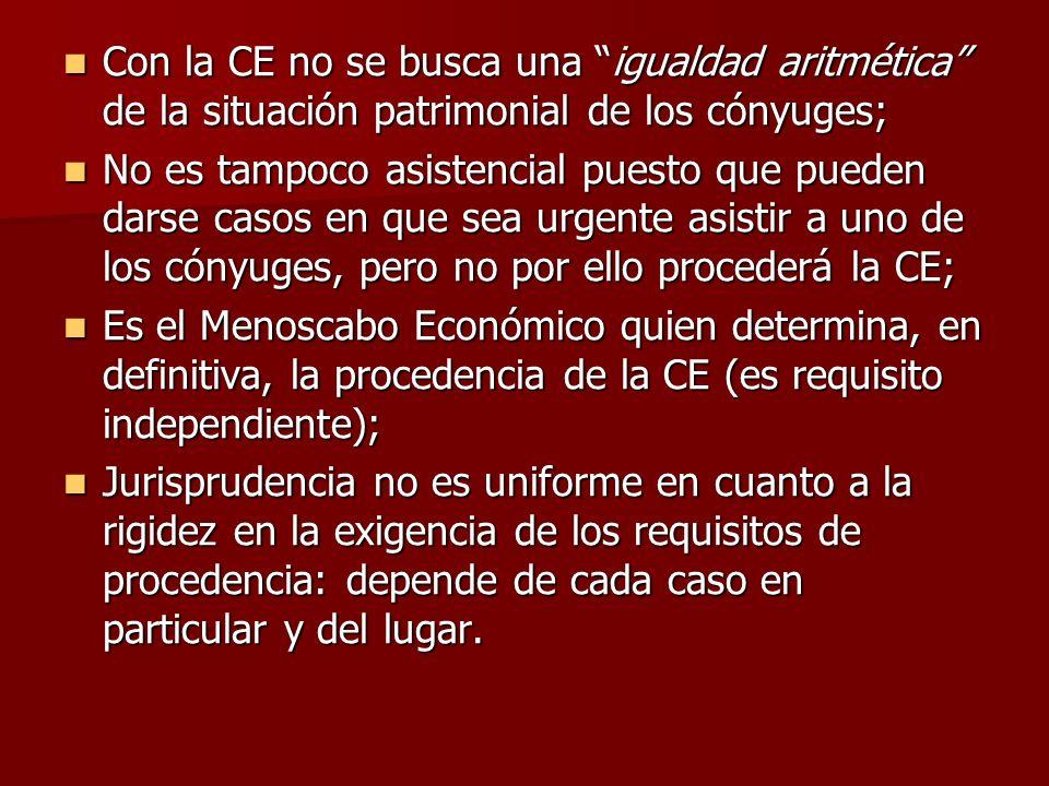 Con la CE no se busca una igualdad aritmética de la situación patrimonial de los cónyuges;