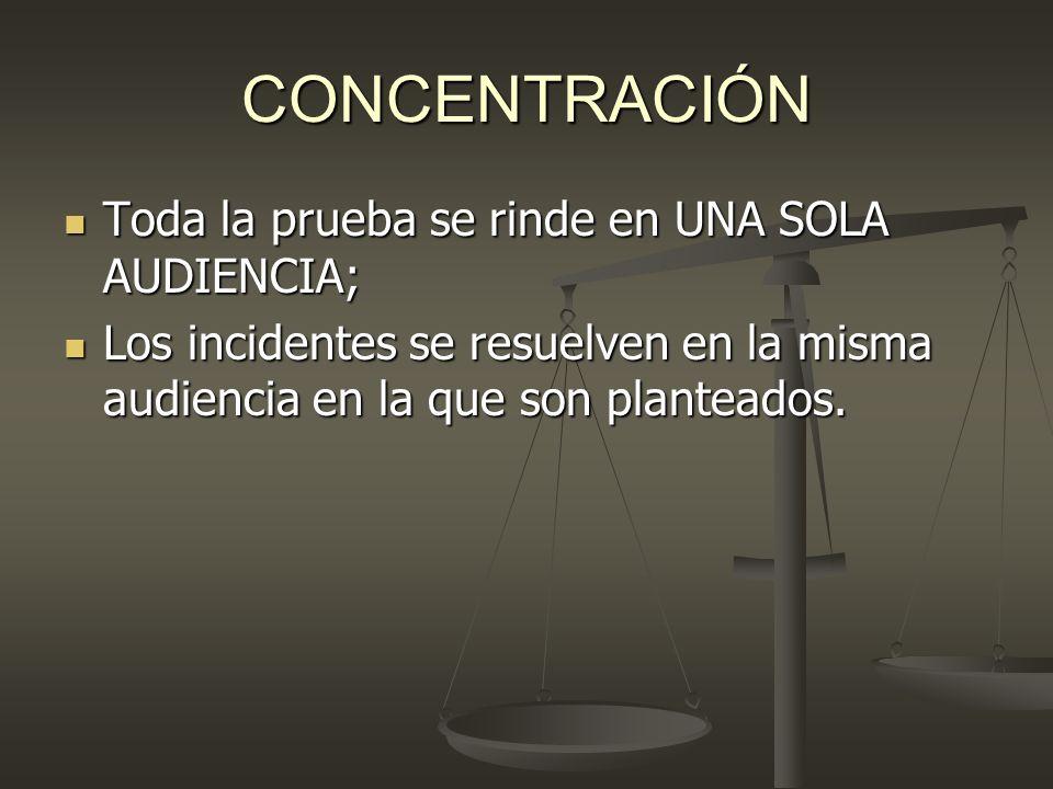 CONCENTRACIÓN Toda la prueba se rinde en UNA SOLA AUDIENCIA;