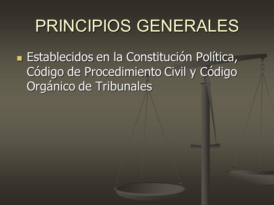 PRINCIPIOS GENERALESEstablecidos en la Constitución Política, Código de Procedimiento Civil y Código Orgánico de Tribunales.