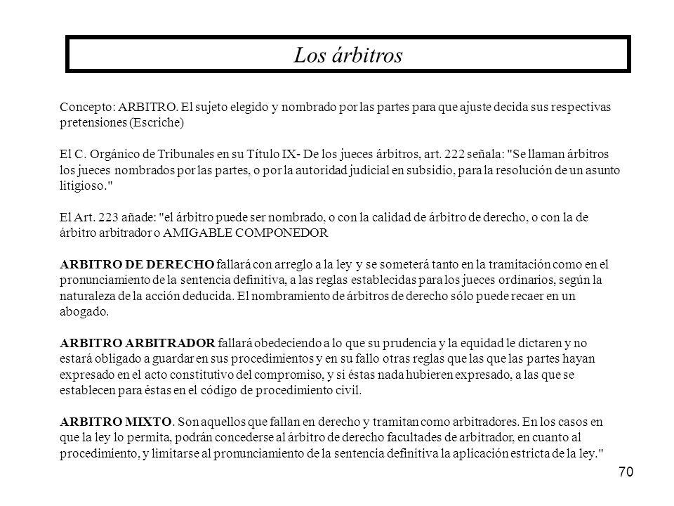 Los árbitros Concepto: ARBITRO. El sujeto elegido y nombrado por las partes para que ajuste decida sus respectivas pretensiones (Escriche)