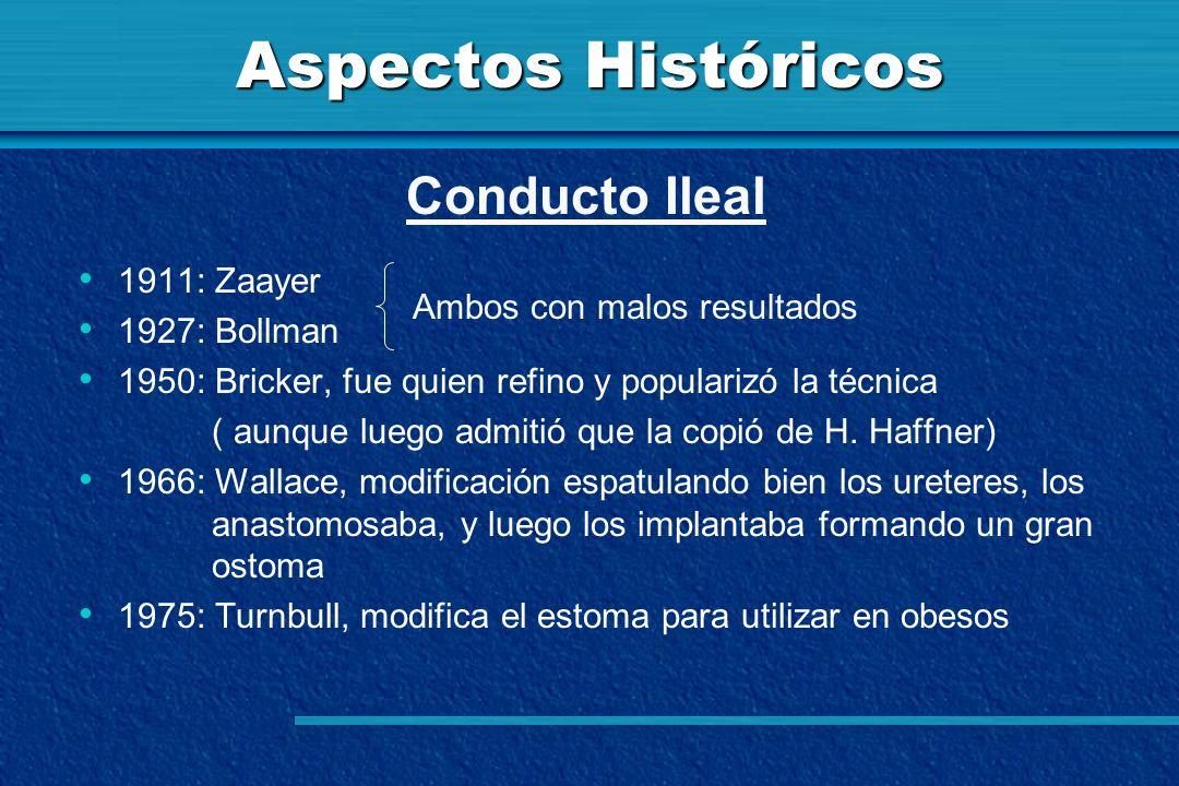 Aspectos Históricos Conducto Ileal 1911: Zaayer 1927: Bollman