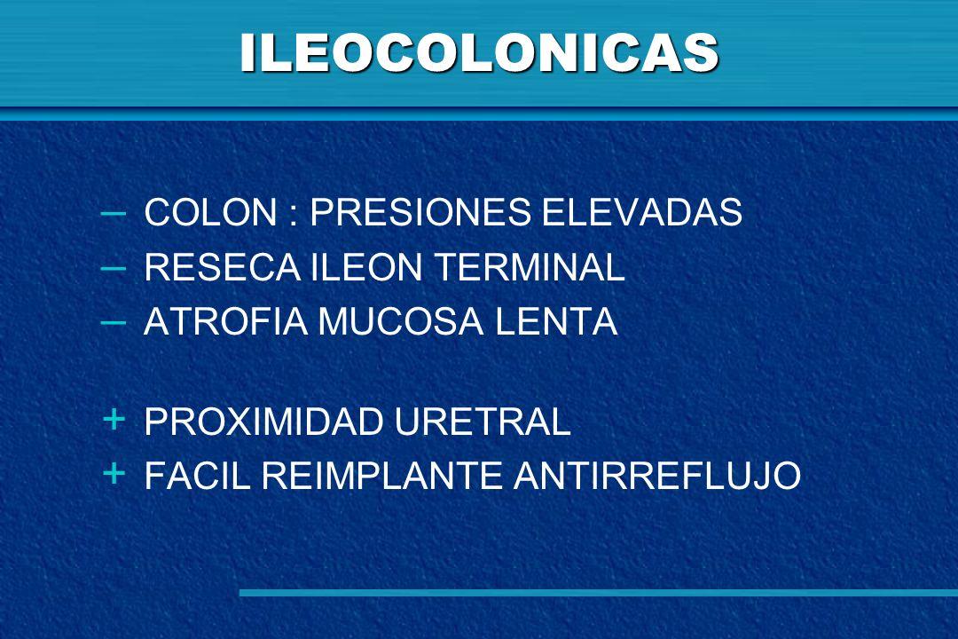 ILEOCOLONICAS COLON : PRESIONES ELEVADAS RESECA ILEON TERMINAL