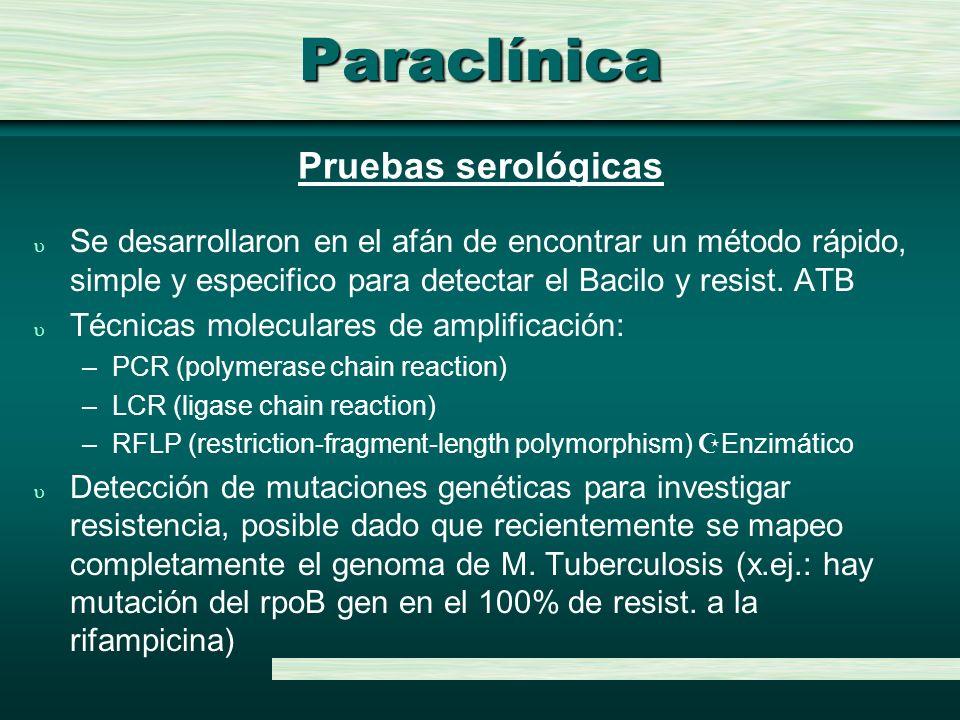 Paraclínica Pruebas serológicas