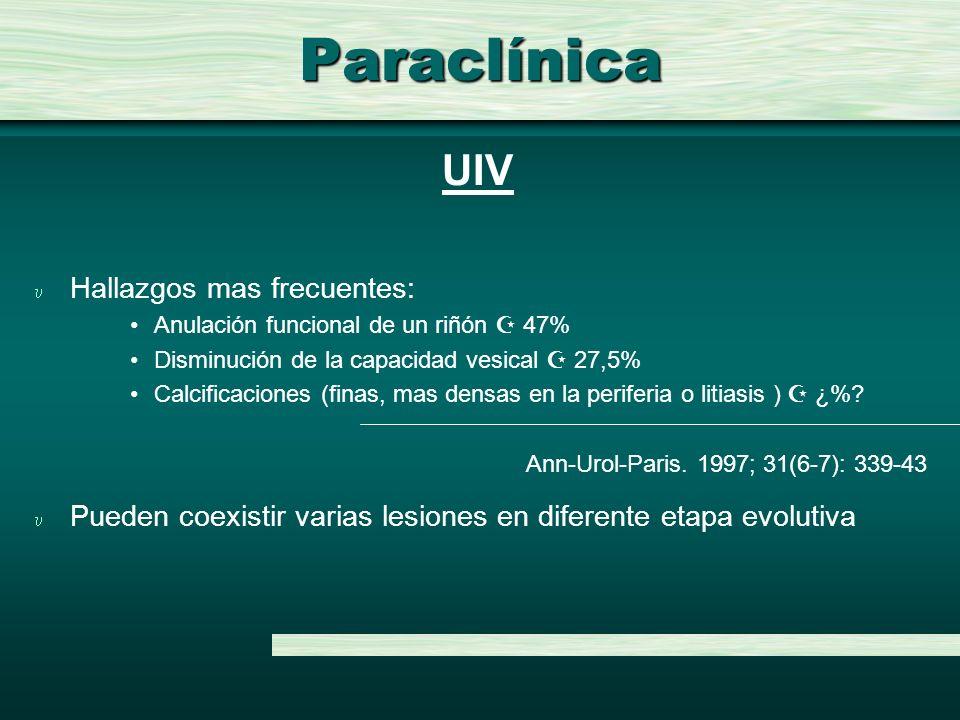 Paraclínica UIV Hallazgos mas frecuentes: