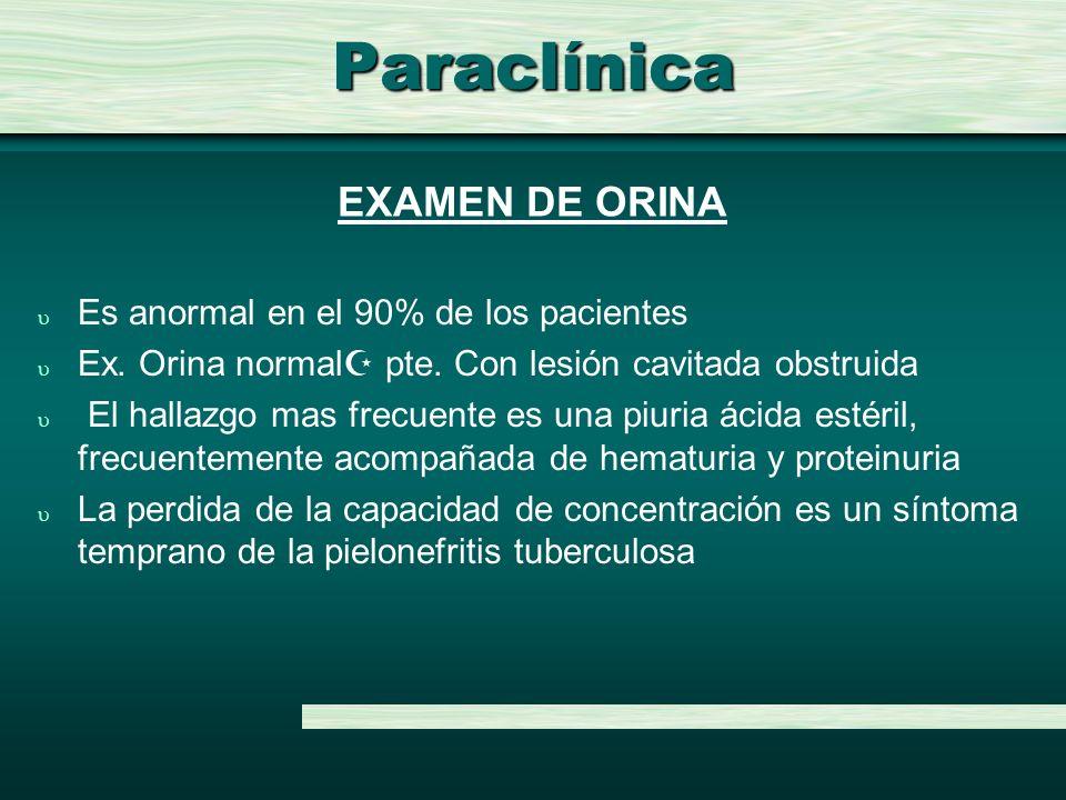 Paraclínica EXAMEN DE ORINA Es anormal en el 90% de los pacientes