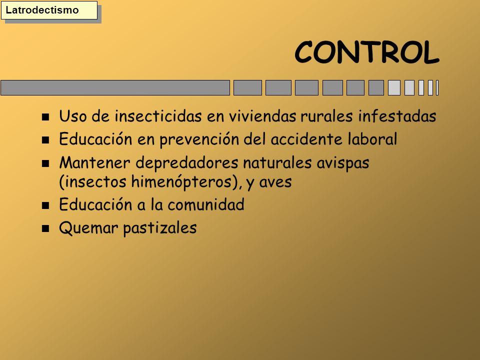 CONTROL Uso de insecticidas en viviendas rurales infestadas