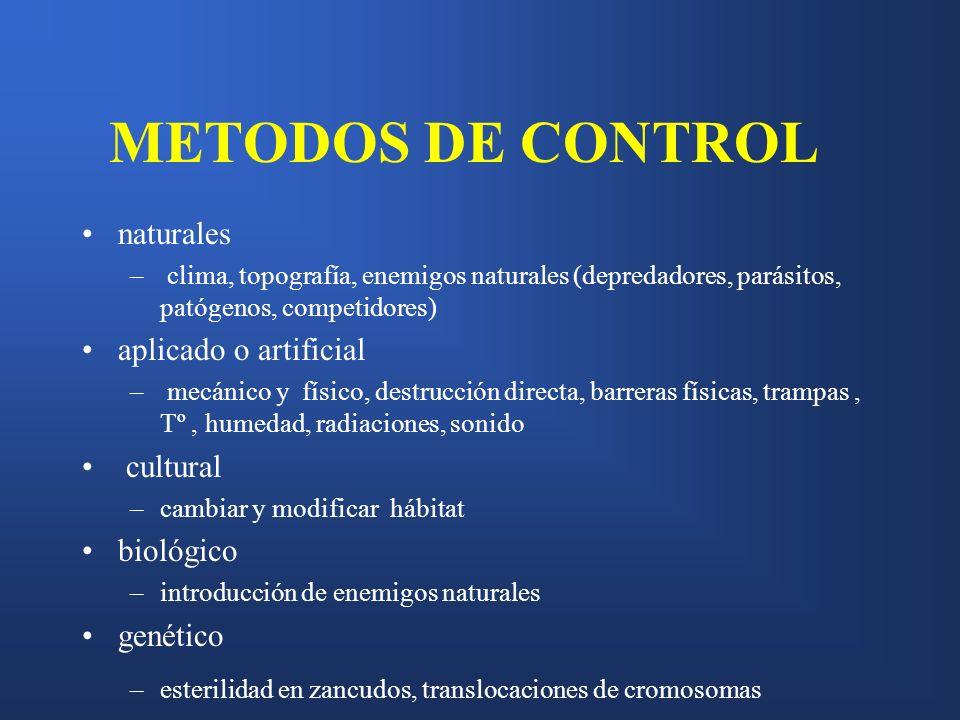 METODOS DE CONTROL naturales aplicado o artificial cultural biológico