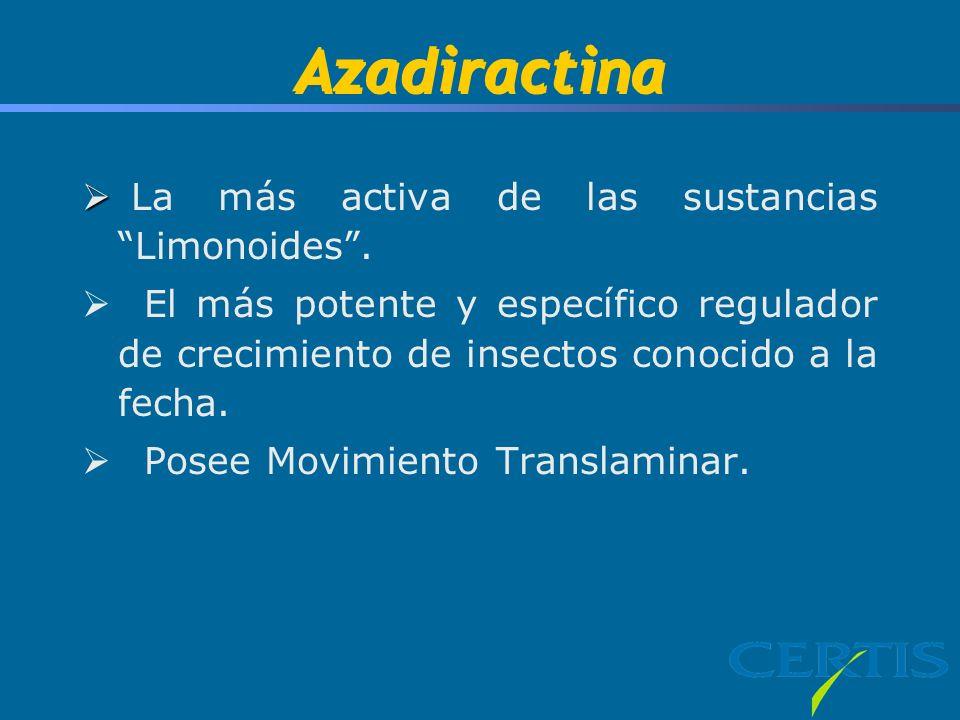 Azadiractina La más activa de las sustancias Limonoides .