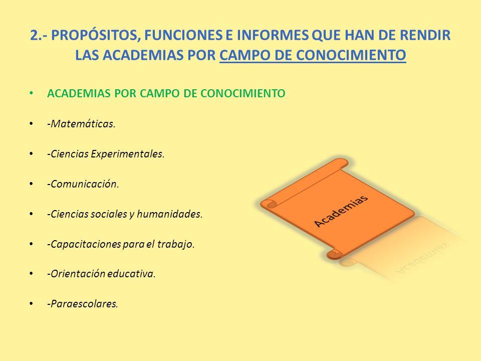 2.- PROPÓSITOS, FUNCIONES E INFORMES QUE HAN DE RENDIR LAS ACADEMIAS POR CAMPO DE CONOCIMIENTO