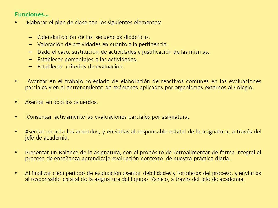 Funciones… Elaborar el plan de clase con los siguientes elementos: