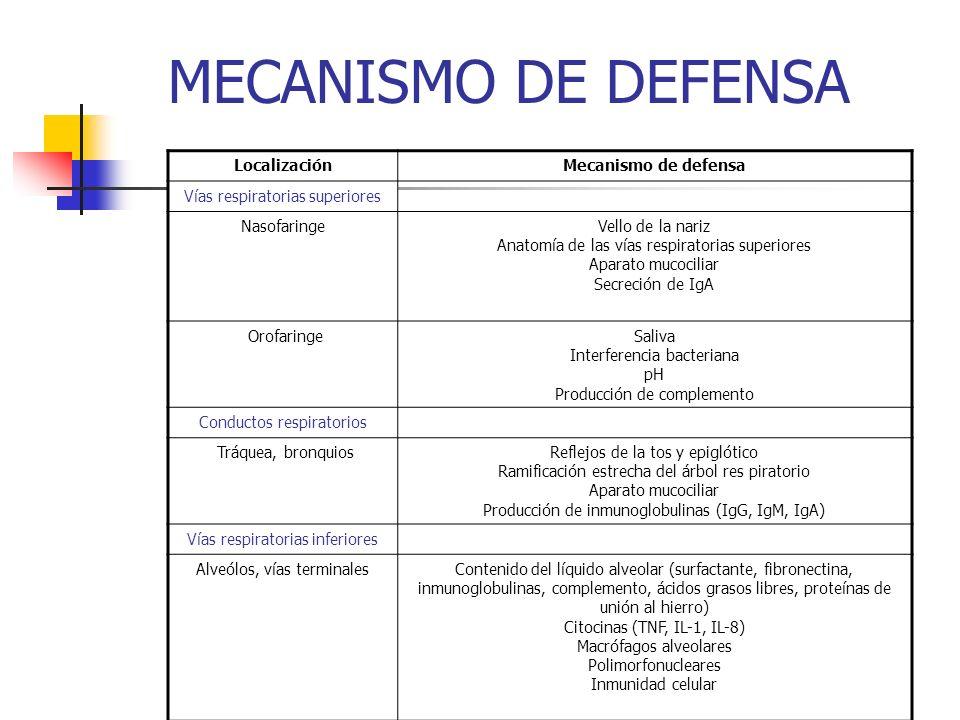 MECANISMO DE DEFENSA Localización Mecanismo de defensa