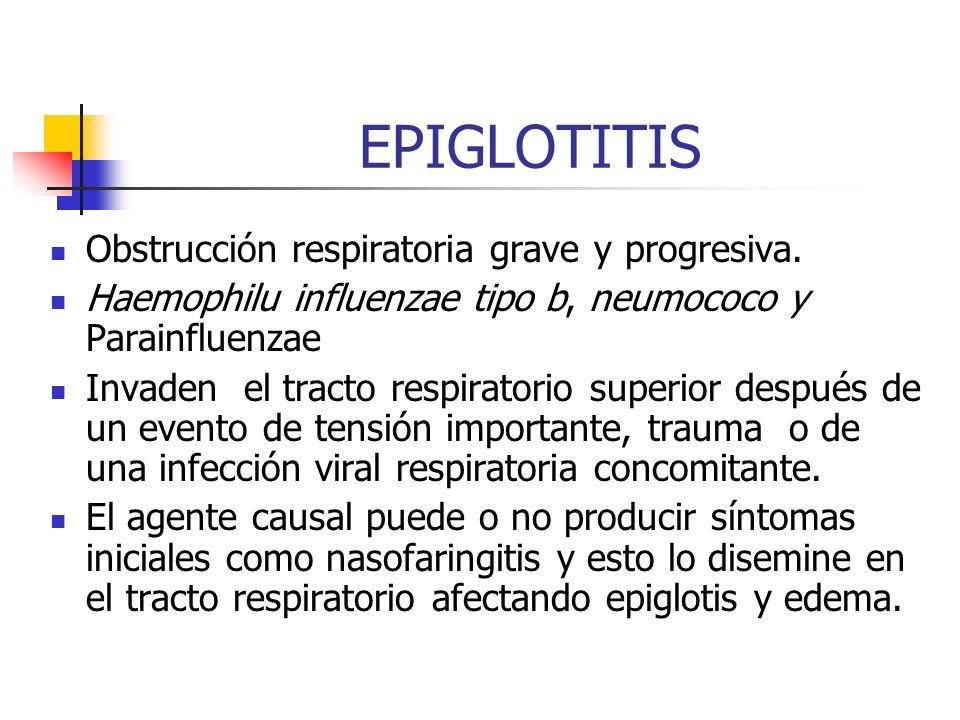 EPIGLOTITIS Obstrucción respiratoria grave y progresiva.