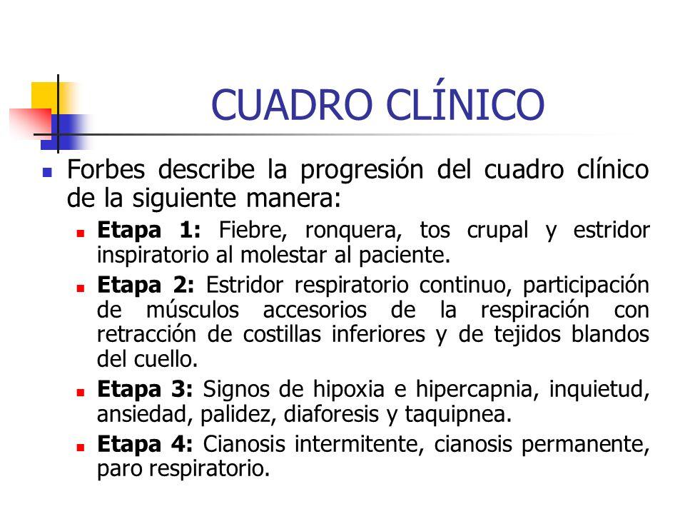 CUADRO CLÍNICO Forbes describe la progresión del cuadro clínico de la siguiente manera: