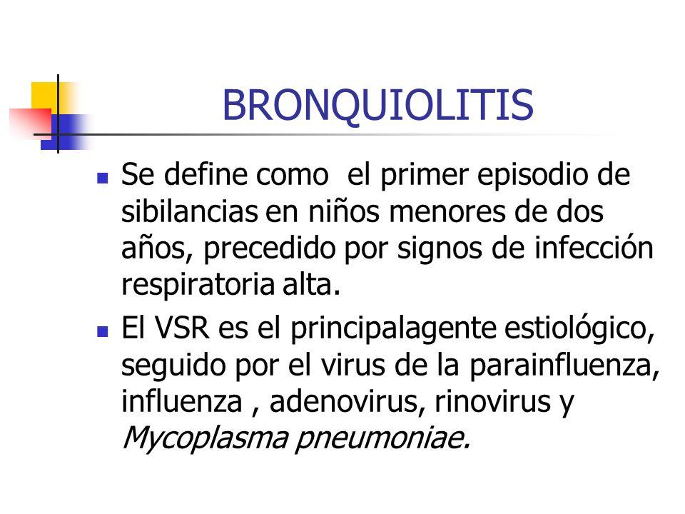 BRONQUIOLITISSe define como el primer episodio de sibilancias en niños menores de dos años, precedido por signos de infección respiratoria alta.
