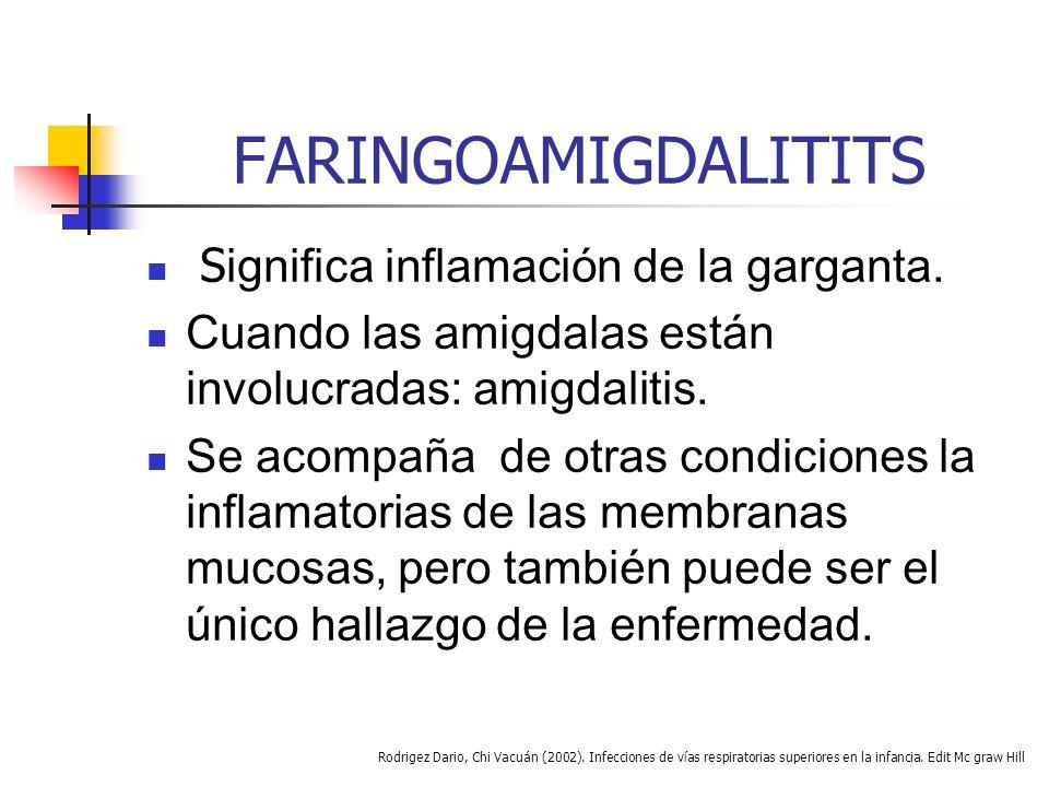 FARINGOAMIGDALITITS Significa inflamación de la garganta.