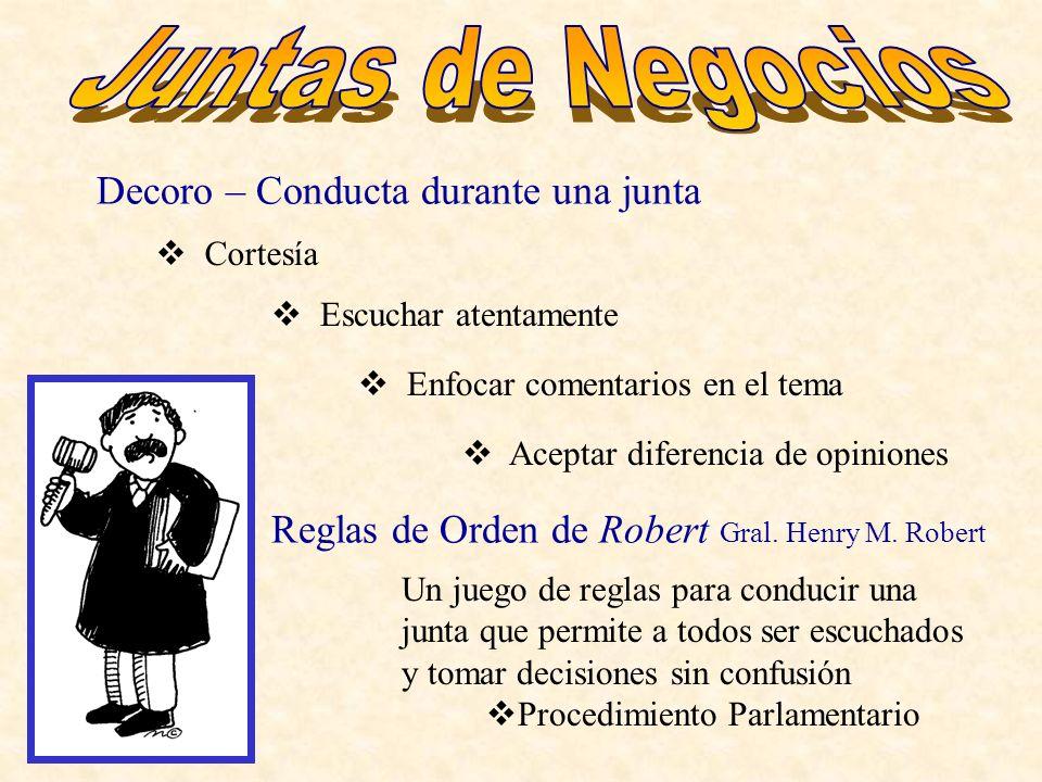 Juntas de Negocios Decoro – Conducta durante una junta