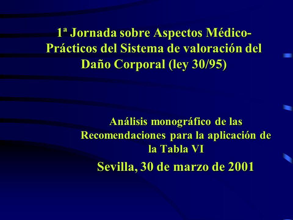 1ª Jornada sobre Aspectos Médico-Prácticos del Sistema de valoración del Daño Corporal (ley 30/95)