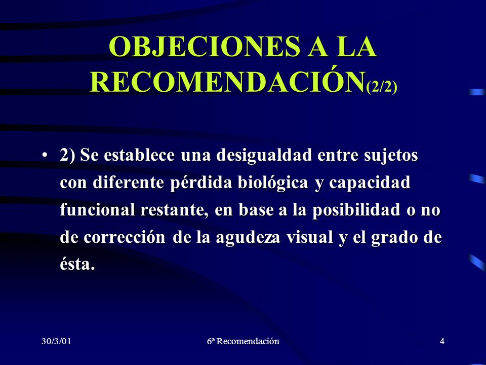 OBJECIONES A LA RECOMENDACIÓN(2/2)