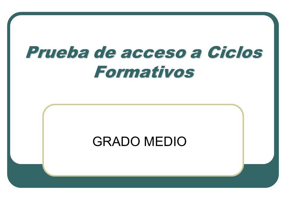 Prueba de acceso a Ciclos Formativos