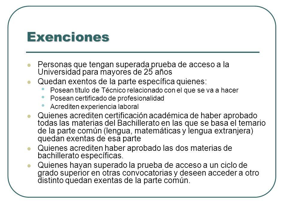 Exenciones Personas que tengan superada prueba de acceso a la Universidad para mayores de 25 años. Quedan exentos de la parte específica quienes: