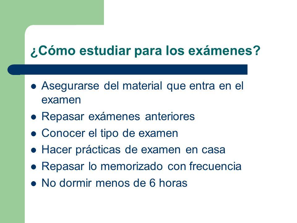 ¿Cómo estudiar para los exámenes