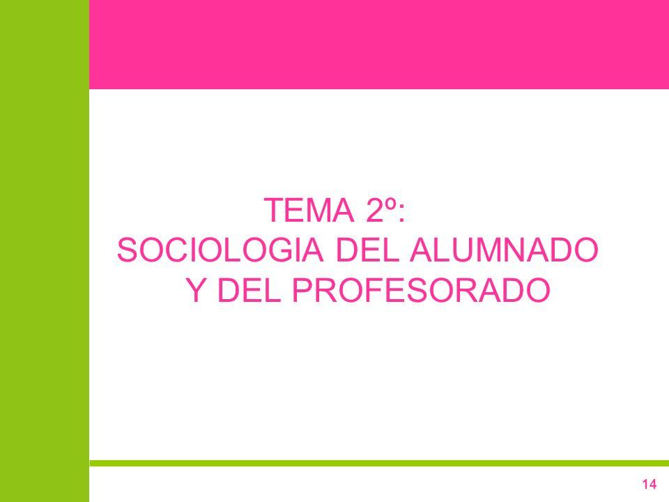 TEMA 2º: SOCIOLOGIA DEL ALUMNADO Y DEL PROFESORADO