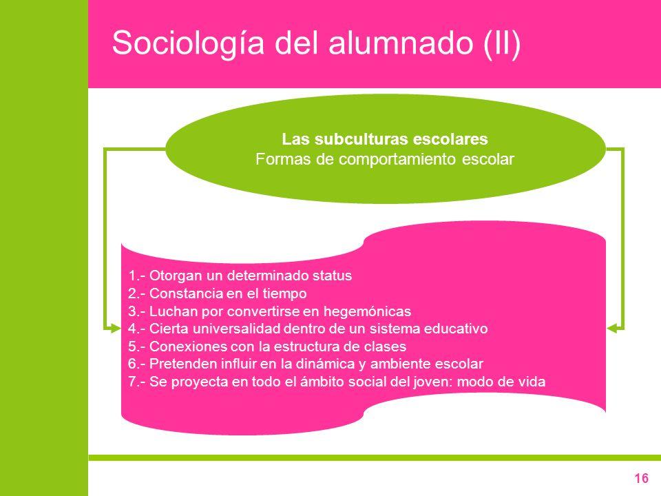Sociología del alumnado (II)